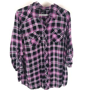 Torrid plaid pink and black button up shirt